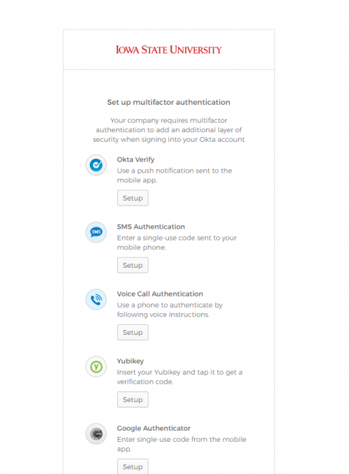 Set up multifactor authentication options